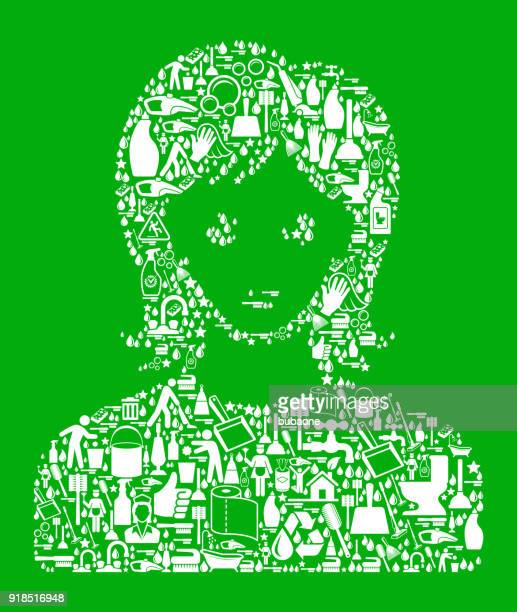 woman's face portrait cleaning green background pattern - paper towel stock illustrations, clip art, cartoons, & icons