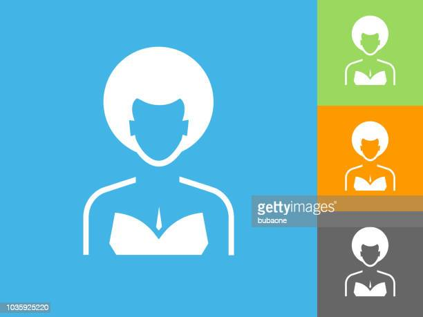Woman's Face Portrait Flat Icon on Blue Background
