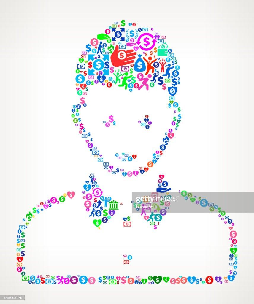 Frau Gesicht Portrait Geld Symbol Vektormuster : Stock-Illustration
