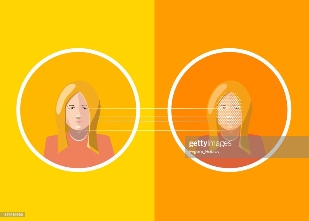 Woman's face scan identification, flat concept illustration