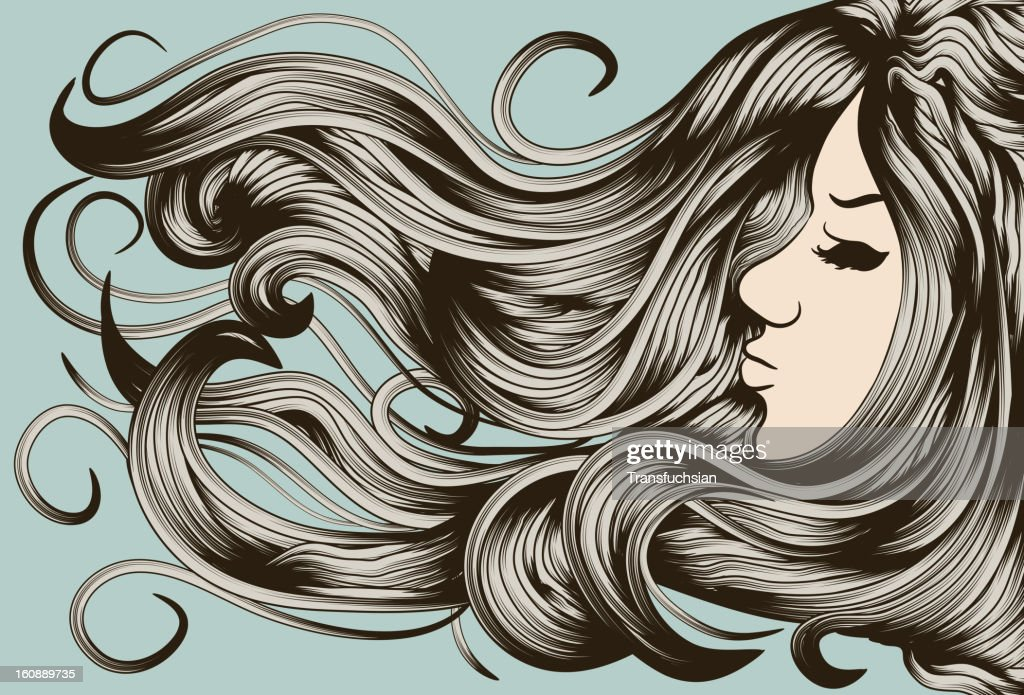 Woman's face with detailed hair