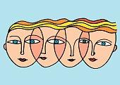 woman's faces vector