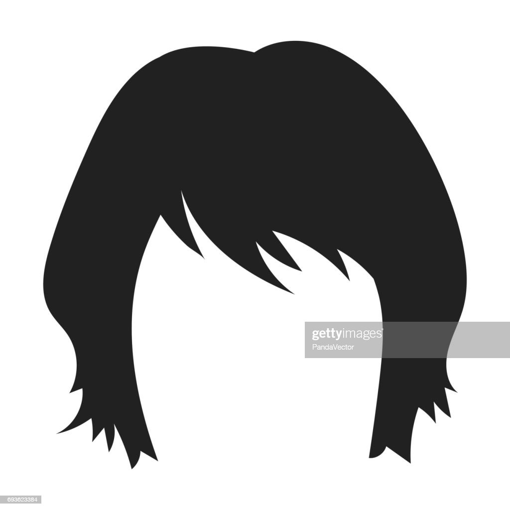 Womans Hairstyle Icon In Black Style Isolated On White Background