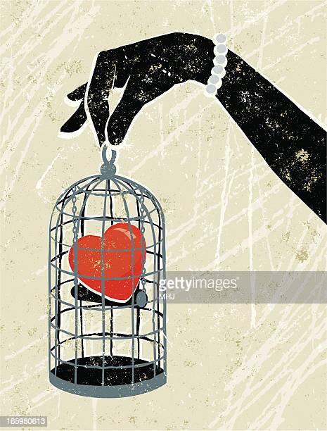 ilustrações de stock, clip art, desenhos animados e ícones de mão da mulher segurando coração sem saída em uma gaiola - mulher fatal