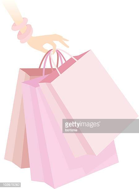 woman's hand holding pink shopping bags icon - spending money stock illustrations, clip art, cartoons, & icons
