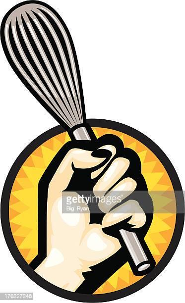 ilustrações de stock, clip art, desenhos animados e ícones de womans mão segura batedor - batedor de ovos manual