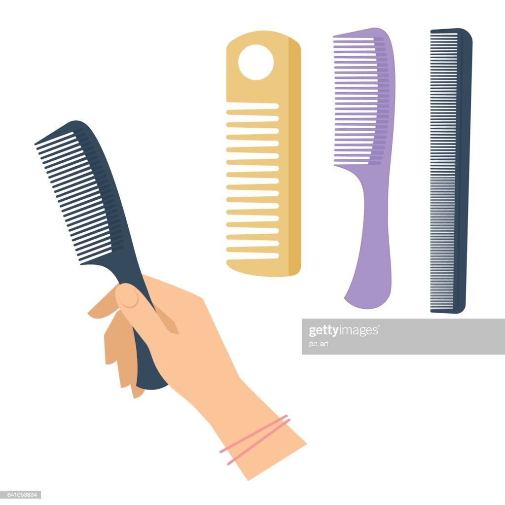 Woman's hand with hairstyle accessory, comb set. Flat vector illustration.