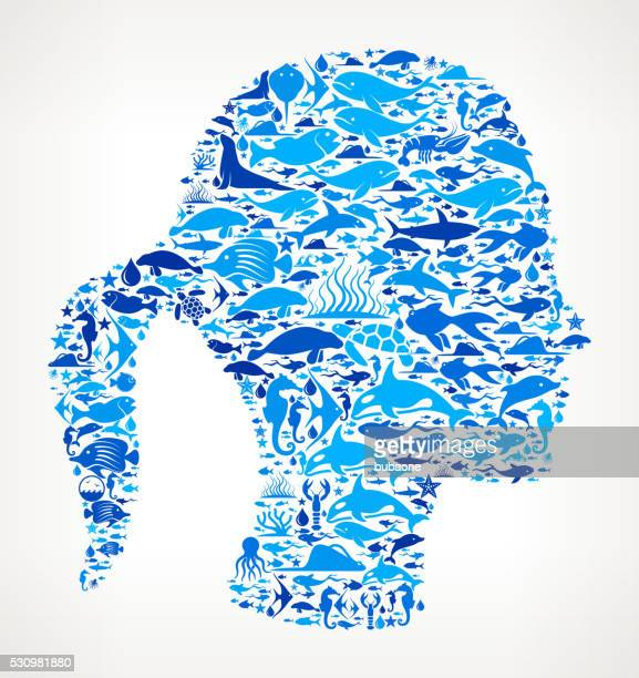 Woman's head Ocean and Marine Life Blue Icon Pattern
