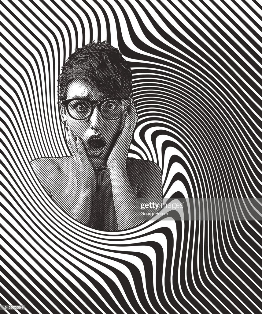 Woman's head with shocked facial expression and halftone pattern : stock illustration
