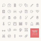 Womans Health Outline Icons for web and mobile apps