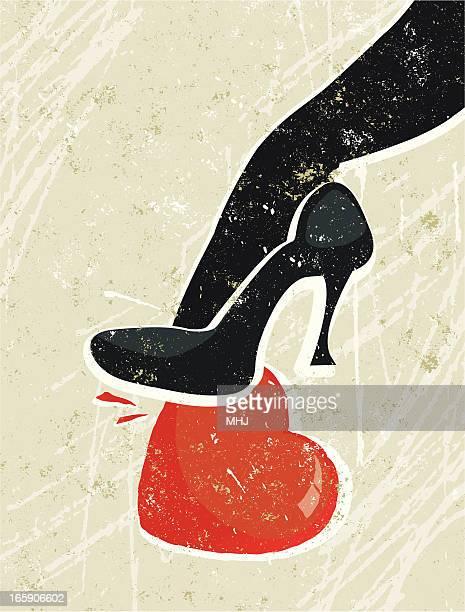 Woman's High Heeled Shoe Crushing a Heart