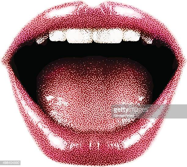 woman's laughing mouth and lips - mouth stock illustrations, clip art, cartoons, & icons