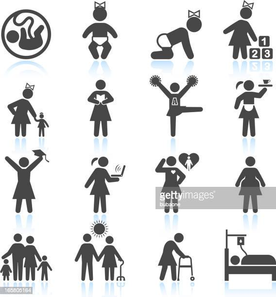 woman's life from childhood to adult and elderly icon set - terminal illness stock illustrations, clip art, cartoons, & icons