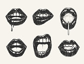 Woman's lip gestures set. Black and white girl's mouths close up different emotions