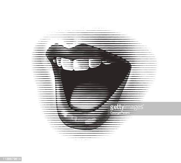 woman's mouth laughing and smiling - human mouth stock illustrations