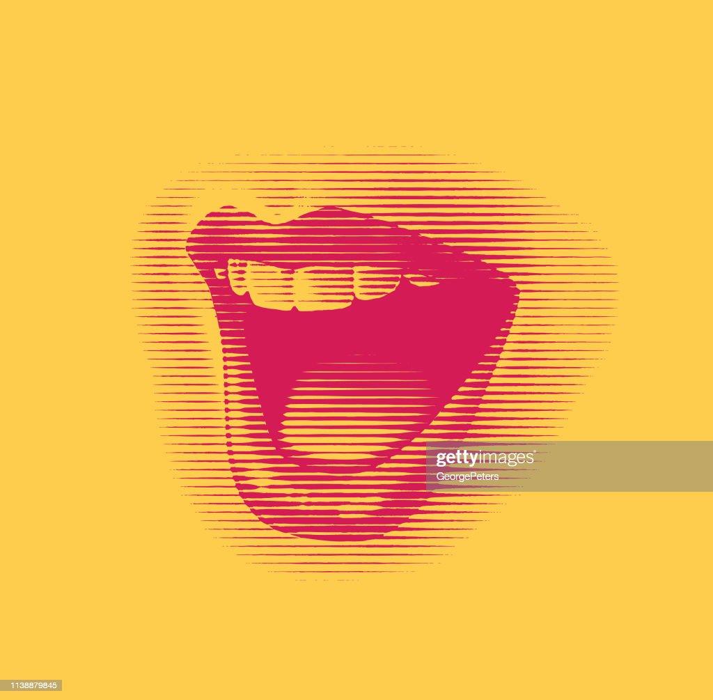 Frau Mund lacht und lächelt : Stock-Illustration
