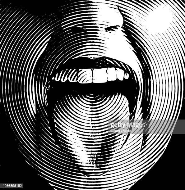woman's mouth laughing and smiling - scratchboard stock illustrations