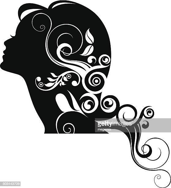 woman's profile. - human hair stock illustrations, clip art, cartoons, & icons
