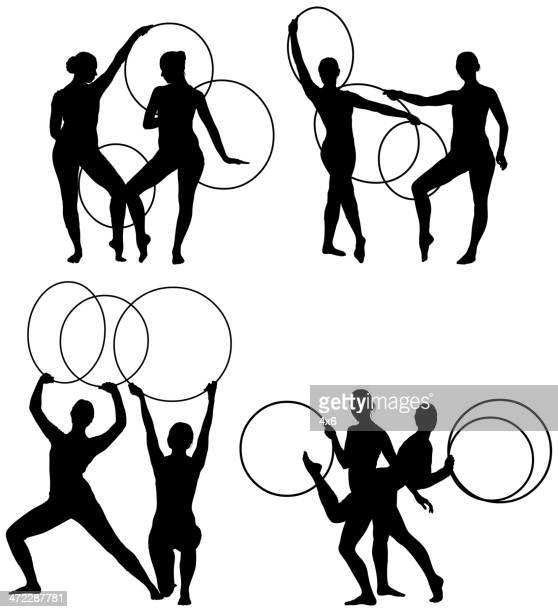 stockillustraties, clipart, cartoons en iconen met wome performing with plastic hoops - match sport
