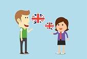 Women and man speaking English