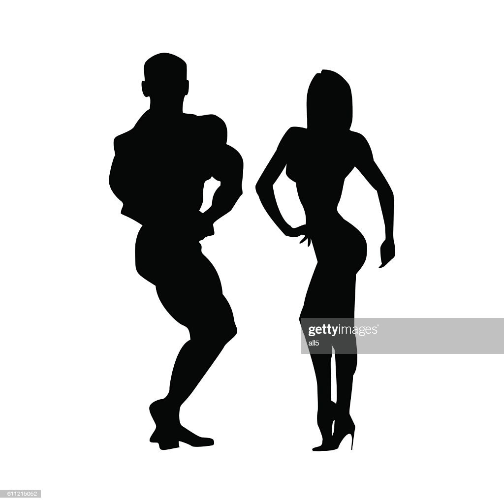 Women and men silhouettes of athletes. Two athletes together. Poses