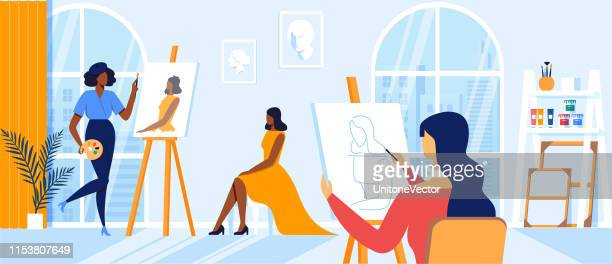 Women Artists Drawing on Canvas during Art Class
