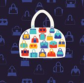 Women bags and  handbags. Fashion Pattern on dark blue background