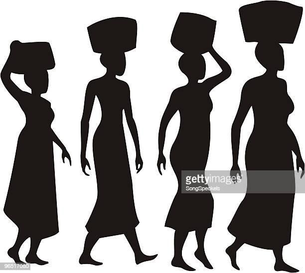 illustrations, cliparts, dessins animés et icônes de femme en équilibre sur la tête des silhouettes des paniers - femme africaine