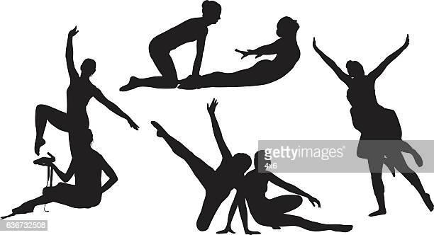 ilustraciones, imágenes clip art, dibujos animados e iconos de stock de women ballet dancing - baile moderno