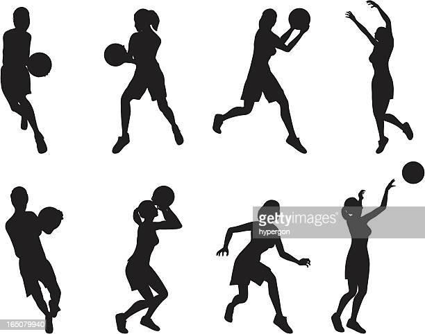ilustraciones, imágenes clip art, dibujos animados e iconos de stock de mujeres reproductores de baloncesto - jugadordebaloncesto