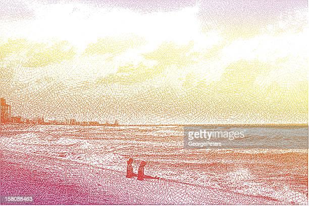 Women, Beach and Sunset