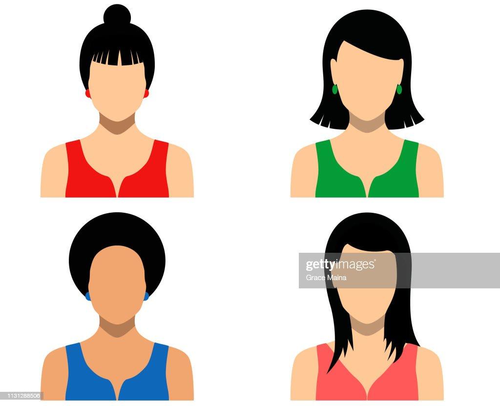 Women Blank Faces Icons : stock illustration