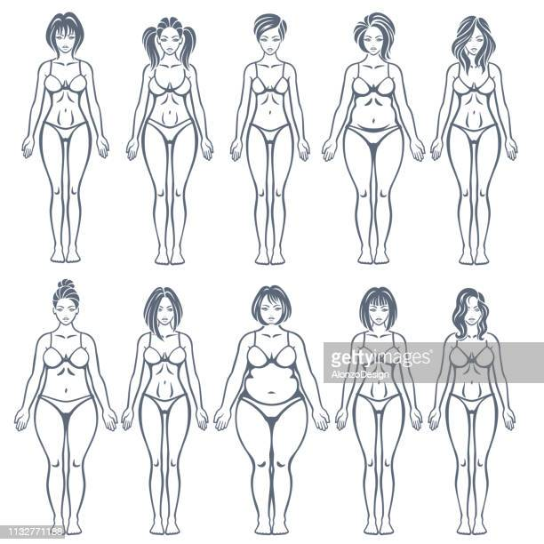 women body types - women's issues stock illustrations, clip art, cartoons, & icons
