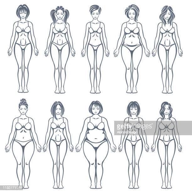 女性の体型 - 人体点のイラスト素材/クリップアート素材/マンガ素材/アイコン素材