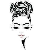 women bun hair style icon, logo women face
