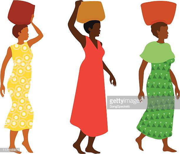 illustrations, cliparts, dessins animés et icônes de femmes portant des paniers - femme africaine
