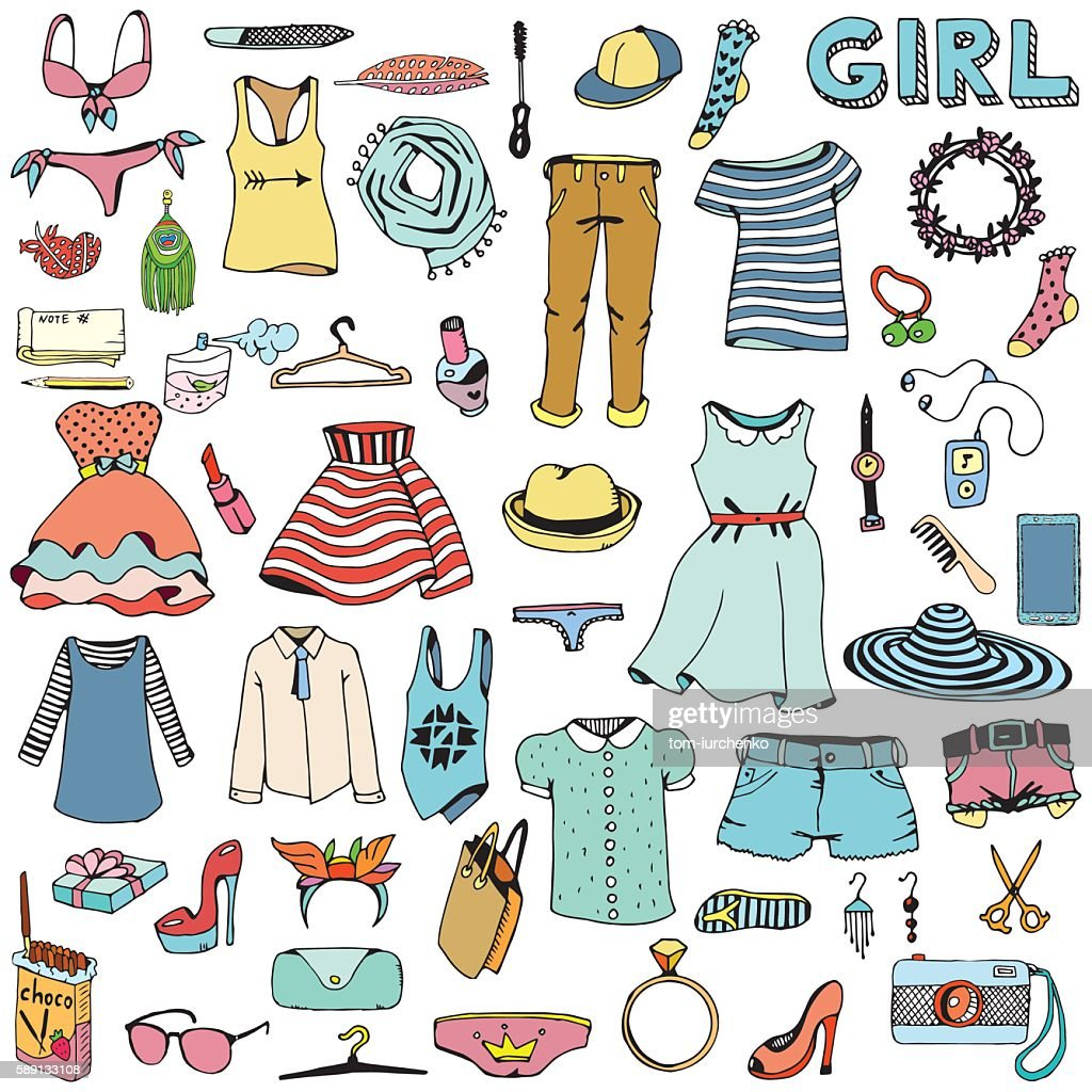 Women clothes and accessories. Hand drawn doodle set.