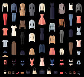 Women Clothes Icons Set in Flat style.