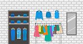 Women clothes store indoor interior illustration