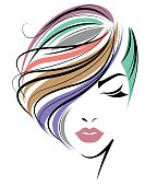 women color hair style, women face on white background
