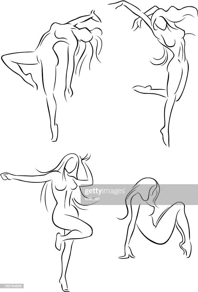 Mujeres bailando 1 : Ilustración de stock
