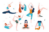 Women doing yoga in different poses vector flat illustration isolated on white background. Yoga for every woman.