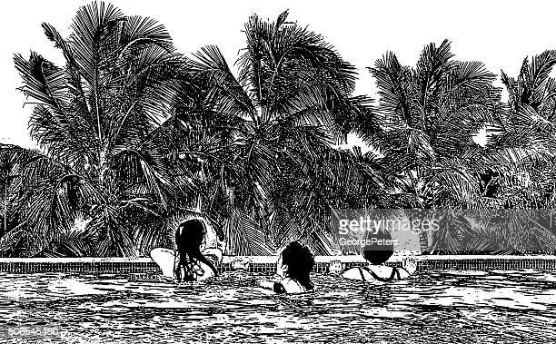 women enjoying infinity pool, view of ocean and palm trees - bocas del toro stock illustrations, clip art, cartoons, & icons