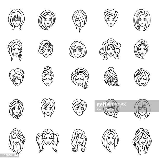 illustrations, cliparts, dessins animés et icônes de les femmes font face. jeu d'icônes de contour - cheveux