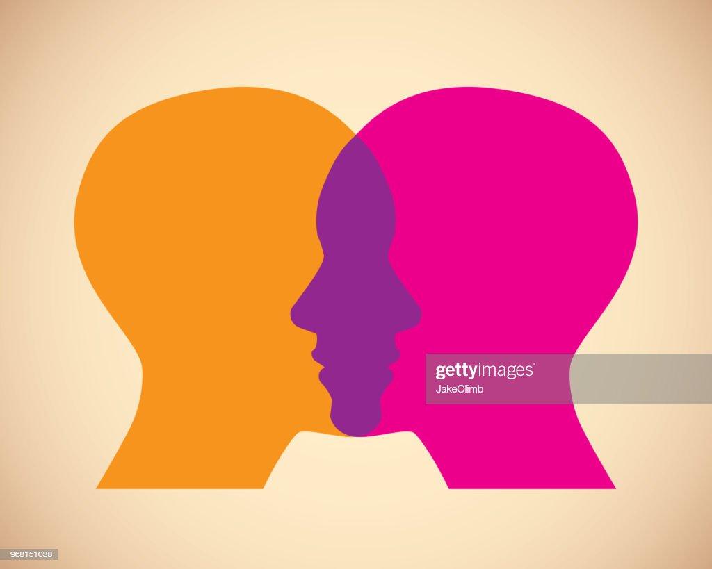 Women Faces Overlapping : Stock Illustration
