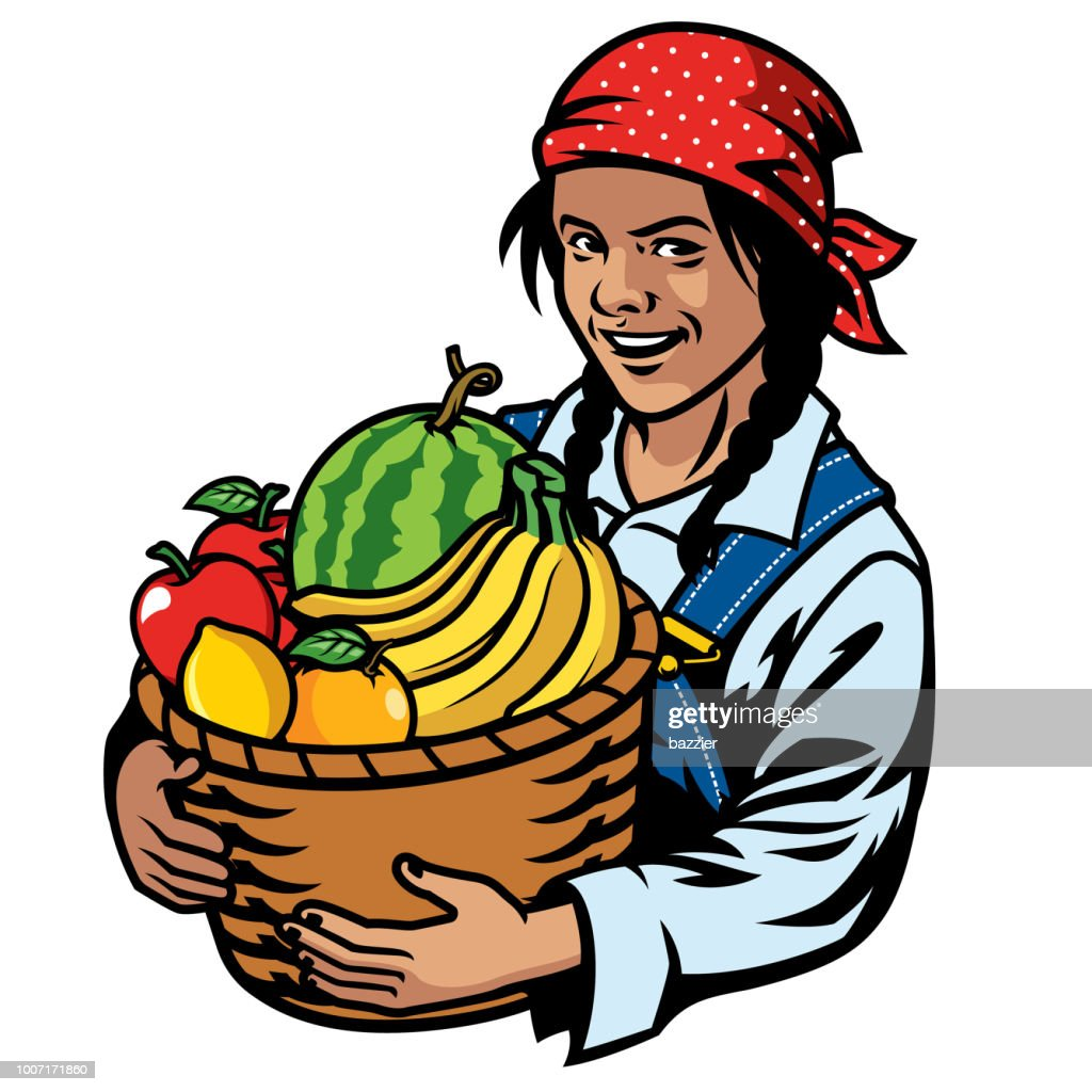 women farmer and basket of fruits