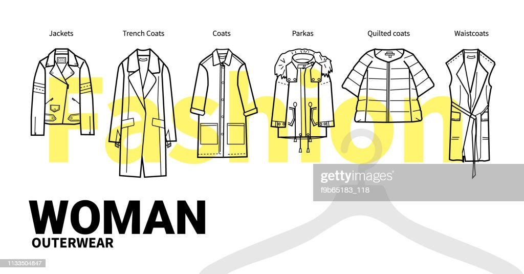 Women Fashion Outerwear outline vector