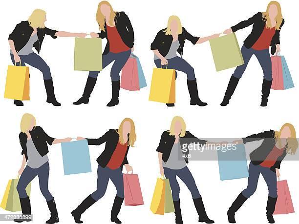 illustrations, cliparts, dessins animés et icônes de femmes qui se battent pour un sac de shopping - se disputer