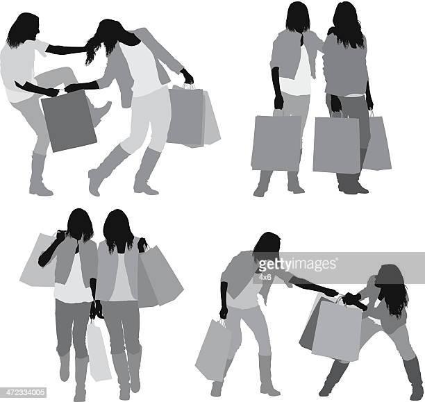 ilustraciones, imágenes clip art, dibujos animados e iconos de stock de mujeres que luchan por bolsa de la compra - tirarse de los pelos