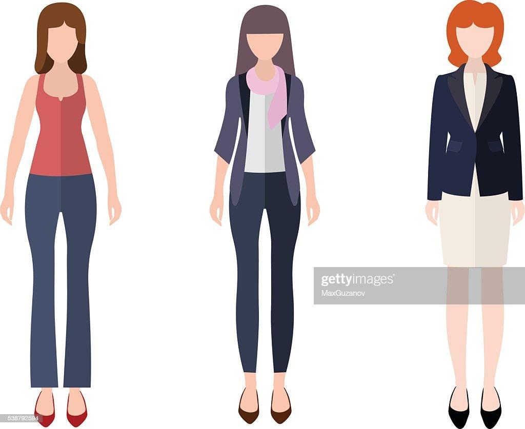 Women flat style icon people figures set